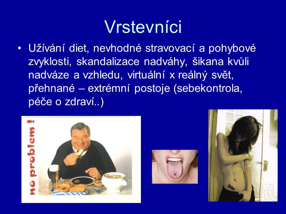 Vrstevníci Užívání diet, nevhodné stravovací a pohybové zvyklosti, skandalizace nadváhy, šikana kvůli nadváze a vzhledu, virtuální x reálný svět, přeh