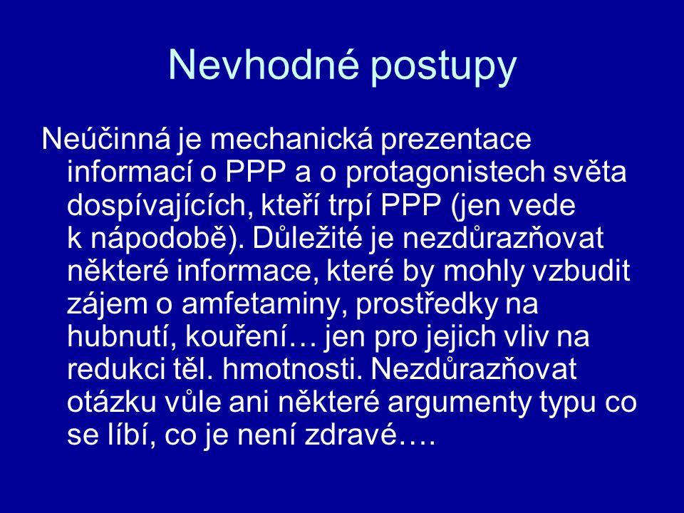 Nevhodné postupy Neúčinná je mechanická prezentace informací o PPP a o protagonistech světa dospívajících, kteří trpí PPP (jen vede k nápodobě). Důlež