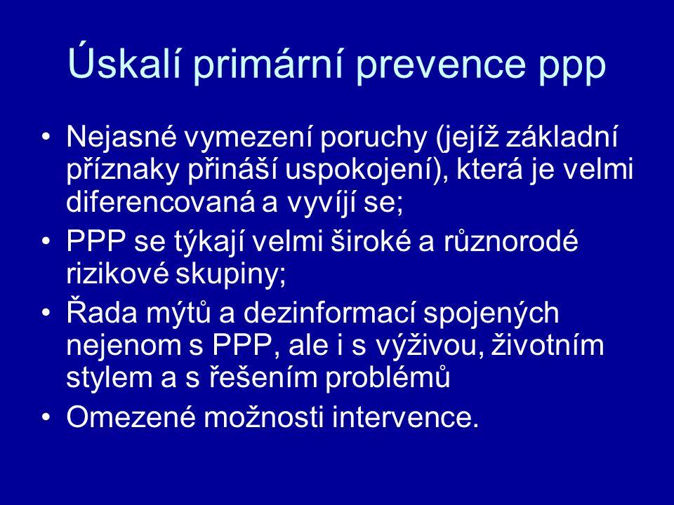 Úskalí primární prevence ppp Nejasné vymezení poruchy (jejíž základní příznaky přináší uspokojení), která je velmi diferencovaná a vyvíjí se; PPP se t