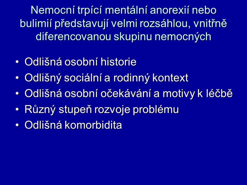 Nemocní trpící mentální anorexií nebo bulimií představují velmi rozsáhlou, vnitřně diferencovanou skupinu nemocných Odlišná osobní historieOdlišná oso