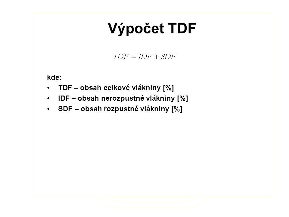 Výpočet TDF kde: TDF – obsah celkové vlákniny [%] IDF – obsah nerozpustné vlákniny [%] SDF – obsah rozpustné vlákniny [%] Výpočet TDF kde: TDF – obsah celkové vlákniny [%] IDF – obsah nerozpustné vlákniny [%] SDF – obsah rozpustné vlákniny [%]