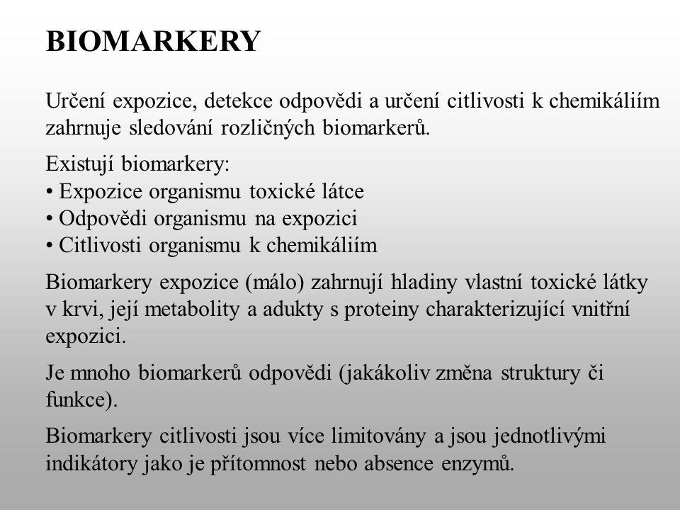 BIOMARKERY Určení expozice, detekce odpovědi a určení citlivosti k chemikáliím zahrnuje sledování rozličných biomarkerů.