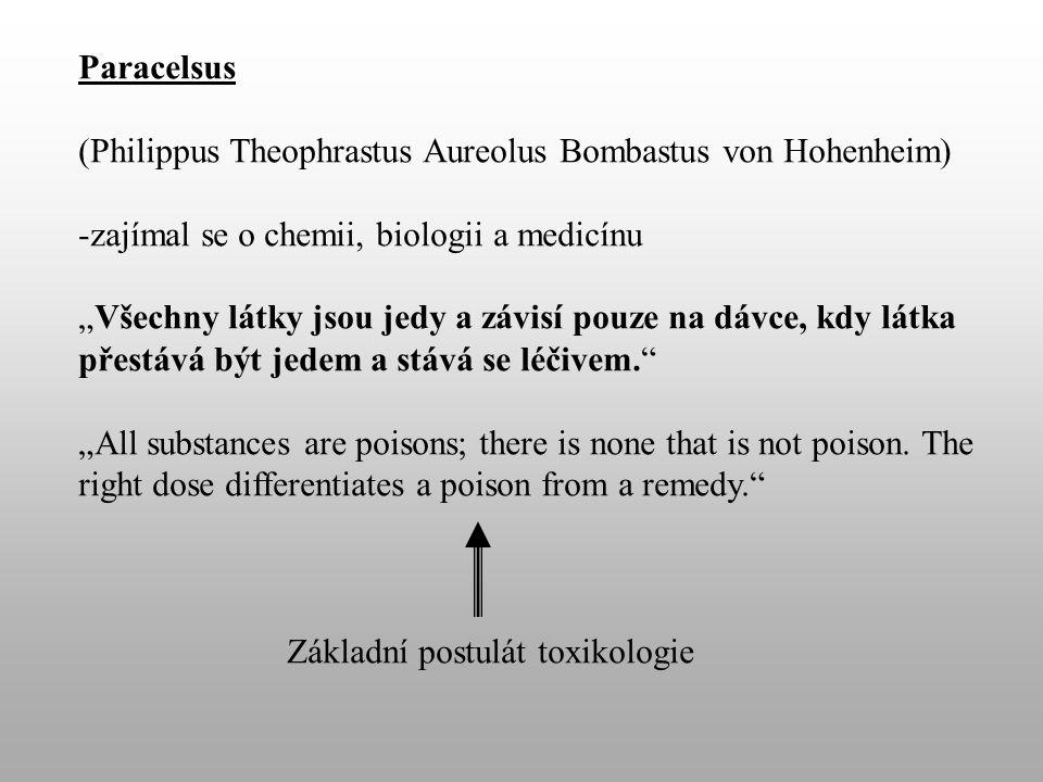 """Paracelsus (Philippus Theophrastus Aureolus Bombastus von Hohenheim) -zajímal se o chemii, biologii a medicínu """"Všechny látky jsou jedy a závisí pouze na dávce, kdy látka přestává být jedem a stává se léčivem. """"All substances are poisons; there is none that is not poison."""