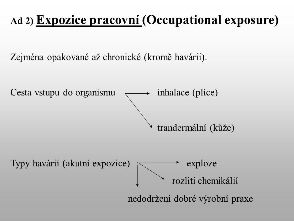 Ad 2) Expozice pracovní (Occupational exposure) Zejména opakované až chronické (kromě havárií).