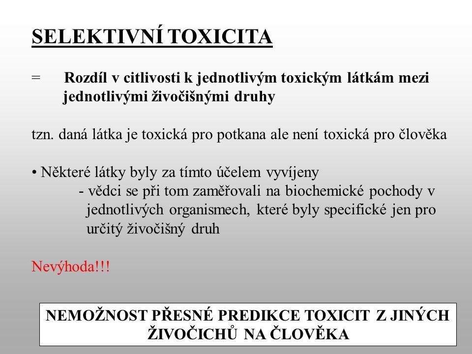 SELEKTIVNÍ TOXICITA = Rozdíl v citlivosti k jednotlivým toxickým látkám mezi jednotlivými živočišnými druhy tzn.