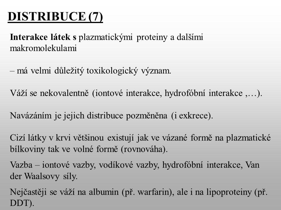 DISTRIBUCE (7) Interakce látek s plazmatickými proteiny a dalšími makromolekulami – má velmi důležitý toxikologický význam.