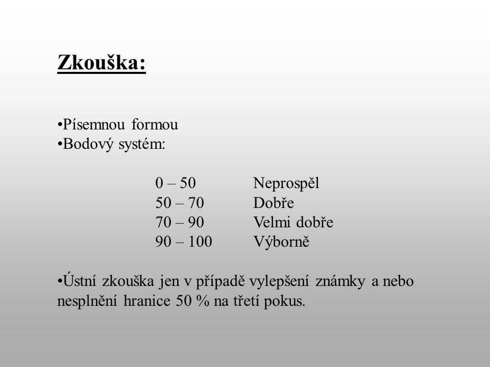 Zkouška: Písemnou formou Bodový systém: 0 – 50 Neprospěl 50 – 70 Dobře 70 – 90Velmi dobře 90 – 100 Výborně Ústní zkouška jen v případě vylepšení známky a nebo nesplnění hranice 50 % na třetí pokus.