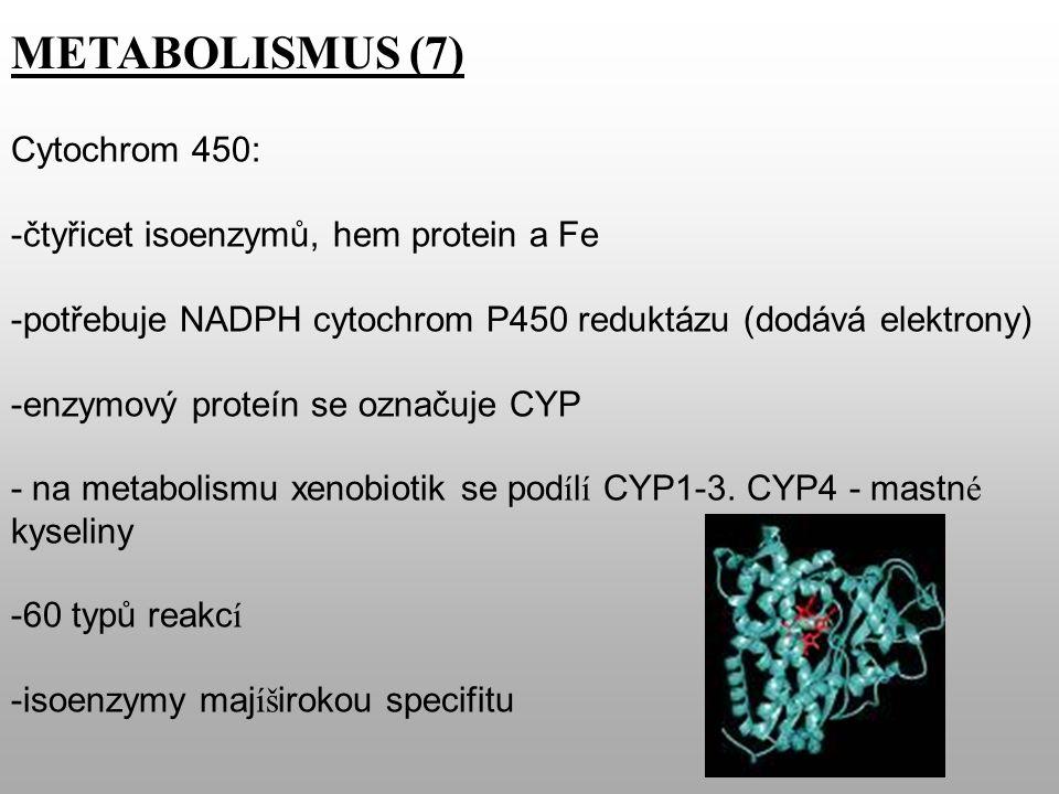 METABOLISMUS (7) Cytochrom 450: -čtyřicet isoenzymů, hem protein a Fe -potřebuje NADPH cytochrom P450 reduktázu (dodává elektrony) -enzymový proteín se označuje CYP - na metabolismu xenobiotik se pod í l í CYP1-3.