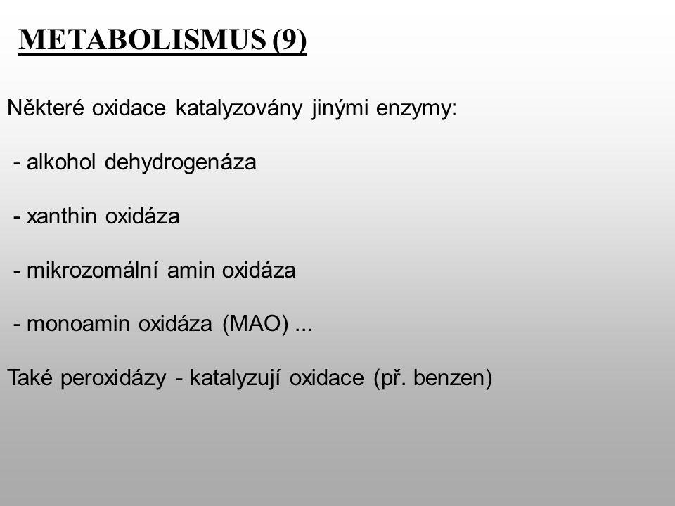METABOLISMUS (9) Některé oxidace katalyzovány jinými enzymy: - alkohol dehydrogenáza - xanthin oxidáza - mikrozomální amin oxidáza - monoamin oxidáza (MAO)...