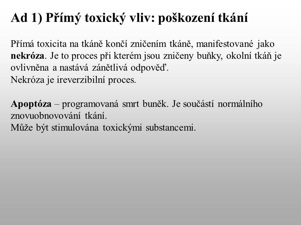 Ad 1) Přímý toxický vliv: poškození tkání Přímá toxicita na tkáně končí zničením tkáně, manifestované jako nekróza.