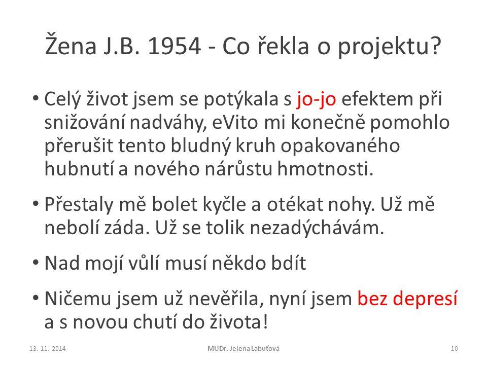 Žena J.B. 1954 - Co řekla o projektu? Celý život jsem se potýkala s jo-jo efektem při snižování nadváhy, eVito mi konečně pomohlo přerušit tento bludn