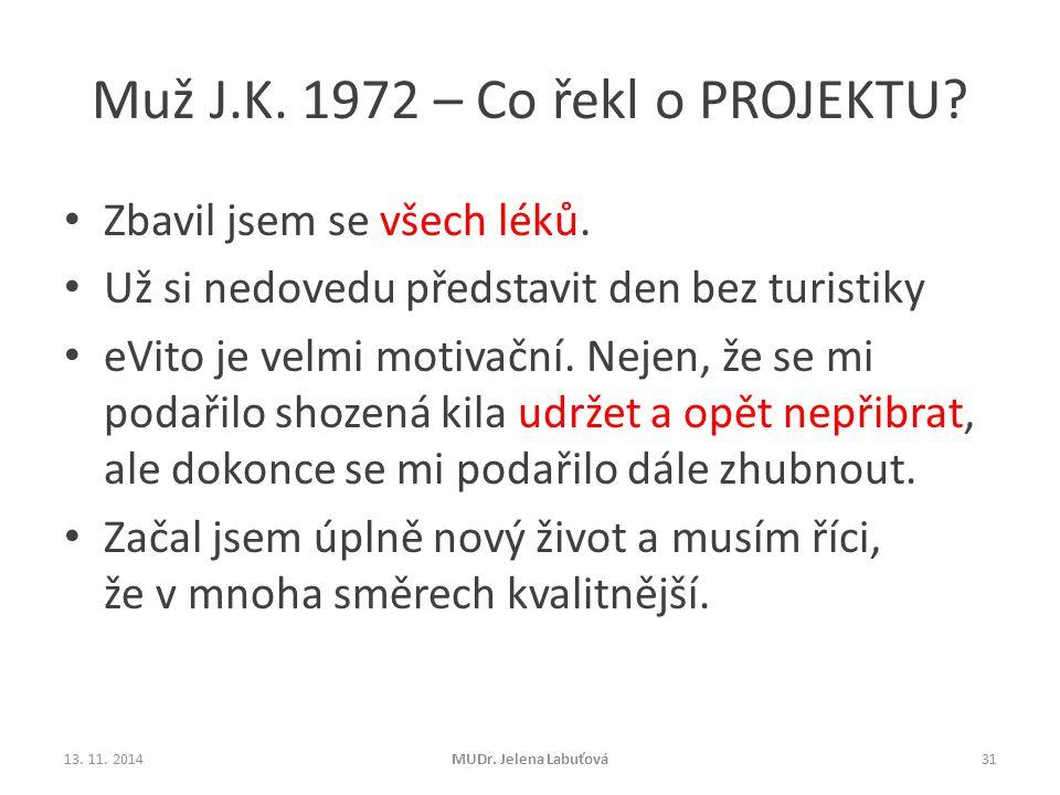Muž J.K. 1972 – Co řekl o PROJEKTU? Zbavil jsem se všech léků. Už si nedovedu představit den bez turistiky eVito je velmi motivační. Nejen, že se mi p