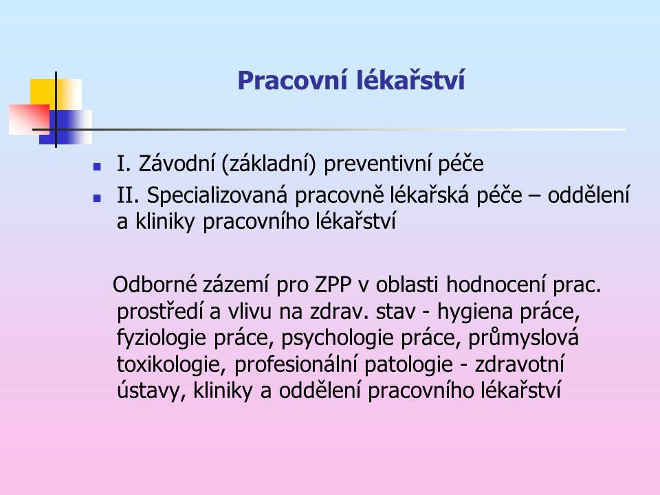 Pracovní lékařství I. Závodní (základní) preventivní péče II.