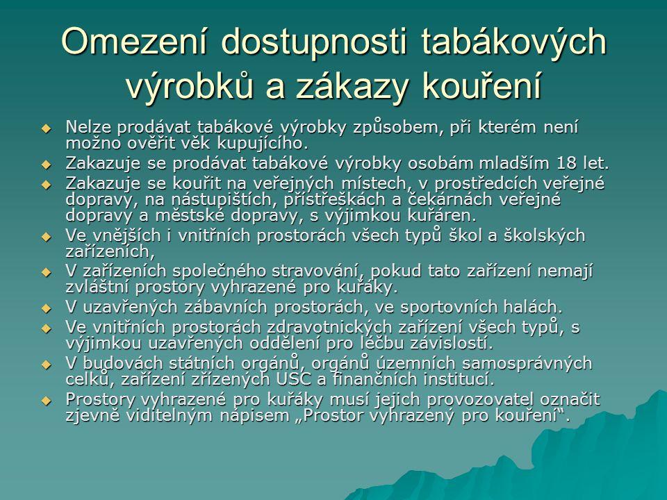 Omezení dostupnosti tabákových výrobků a zákazy kouření  Nelze prodávat tabákové výrobky způsobem, při kterém není možno ověřit věk kupujícího.