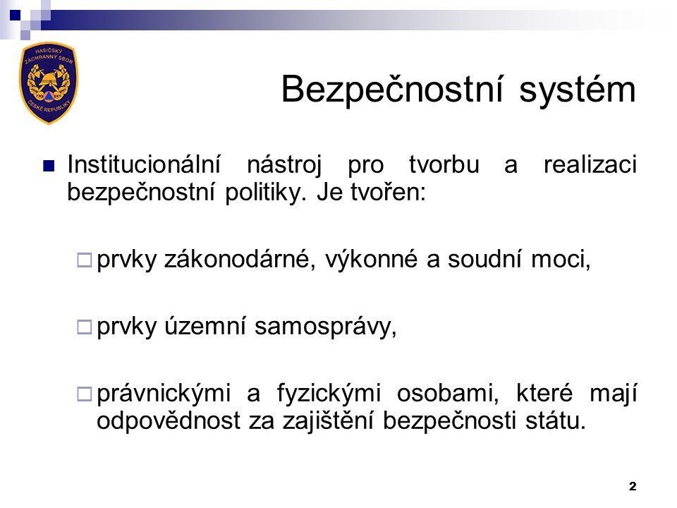 Bezpečnostní systém Institucionální nástroj pro tvorbu a realizaci bezpečnostní politiky.