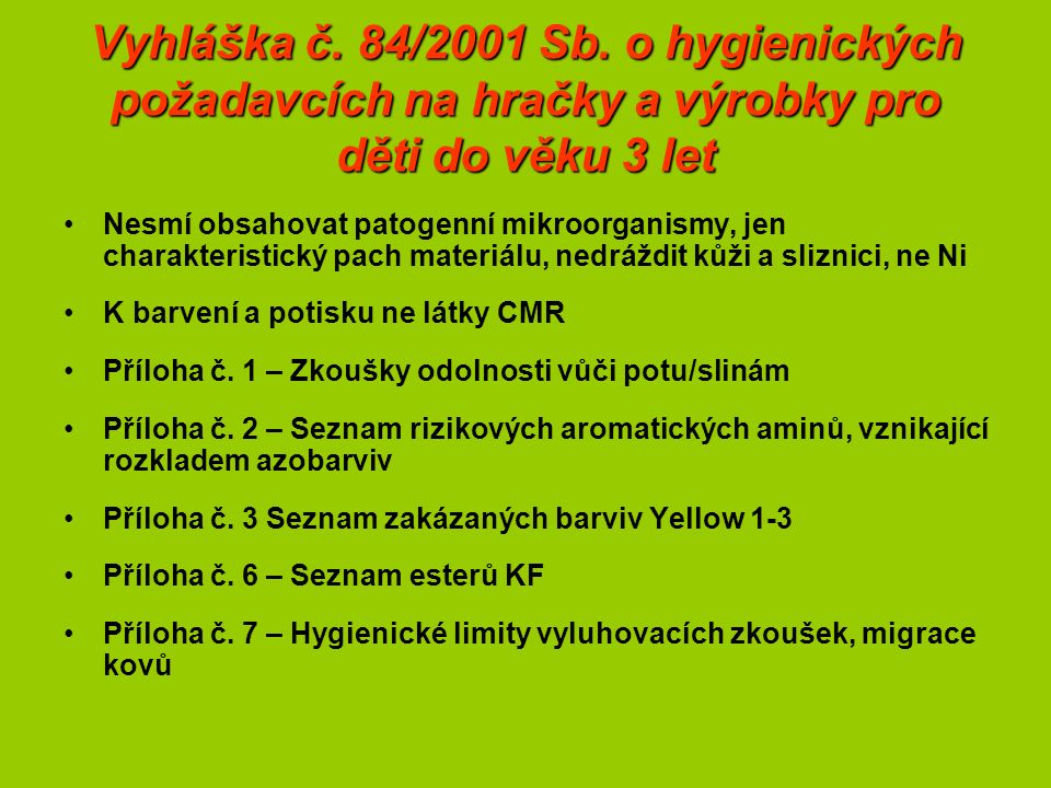 Vyhláška č. 84/2001 Sb.