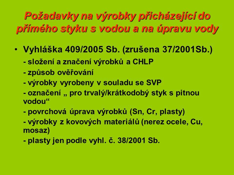Požadavky na výrobky přicházející do přímého styku s vodou a na úpravu vody Vyhláška 409/2005 Sb.