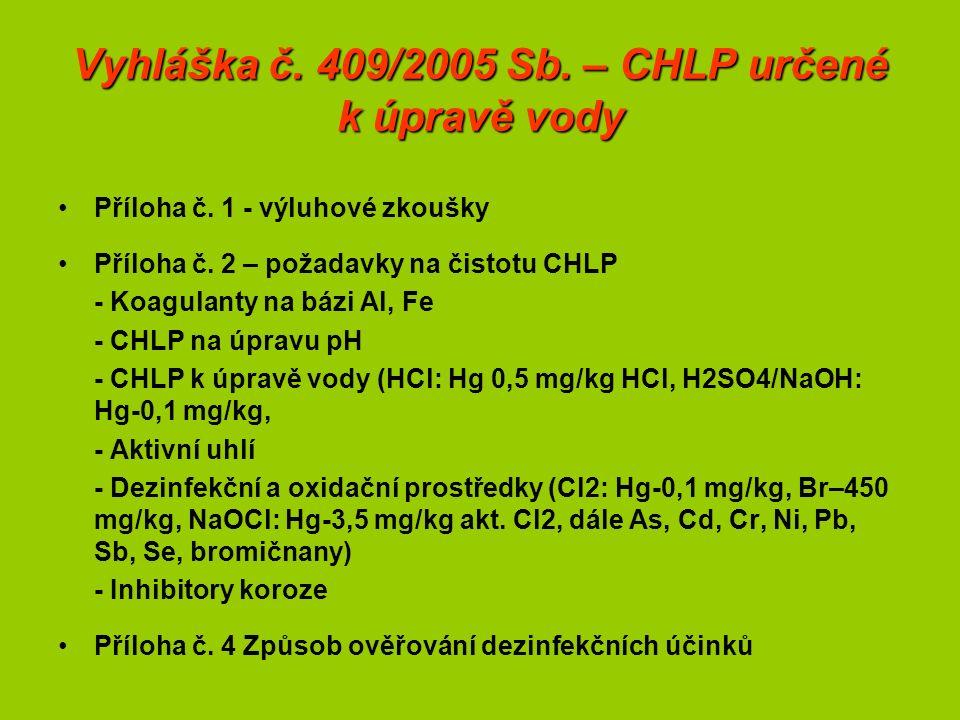 Vyhláška č. 409/2005 Sb. – CHLP určené k úpravě vody Příloha č.