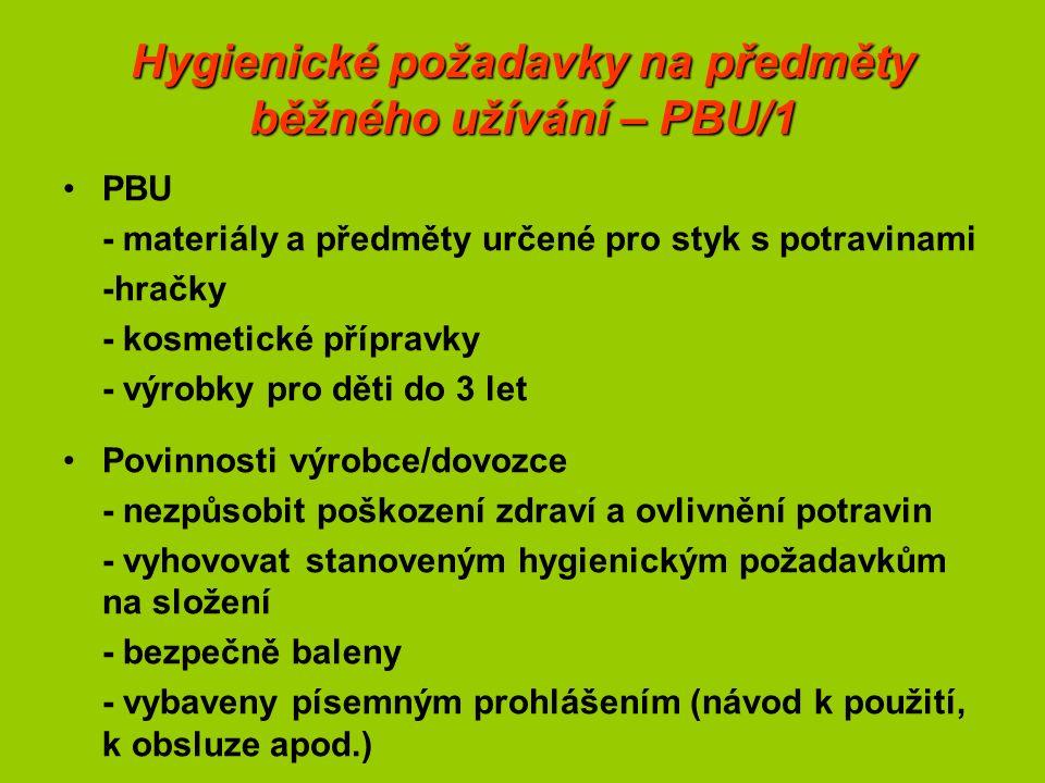 Hygienické požadavky na předměty běžného užívání – PBU/1 PBU - materiály a předměty určené pro styk s potravinami -hračky - kosmetické přípravky - výrobky pro děti do 3 let Povinnosti výrobce/dovozce - nezpůsobit poškození zdraví a ovlivnění potravin - vyhovovat stanoveným hygienickým požadavkům na složení - bezpečně baleny - vybaveny písemným prohlášením (návod k použití, k obsluze apod.)