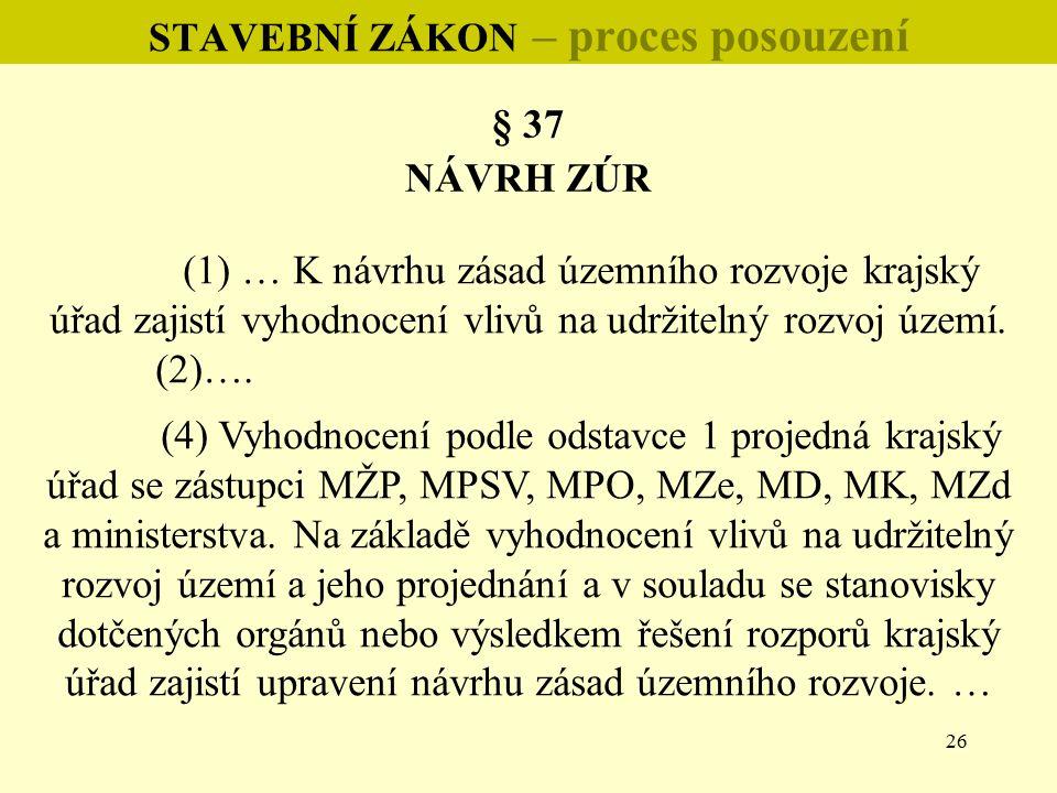 26 STAVEBNÍ ZÁKON – proces posouzení § 37 NÁVRH ZÚR (1) … K návrhu zásad územního rozvoje krajský úřad zajistí vyhodnocení vlivů na udržitelný rozvoj území.
