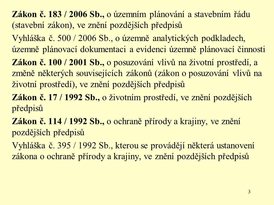 3 Zákon č. 183 / 2006 Sb., o územním plánování a stavebním řádu (stavební zákon), ve znění pozdějších předpisů Vyhláška č. 500 / 2006 Sb., o územně an