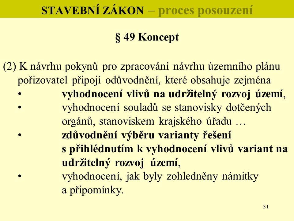 31 STAVEBNÍ ZÁKON – proces posouzení § 49 Koncept (2) K návrhu pokynů pro zpracování návrhu územního plánu pořizovatel připojí odůvodnění, které obsah