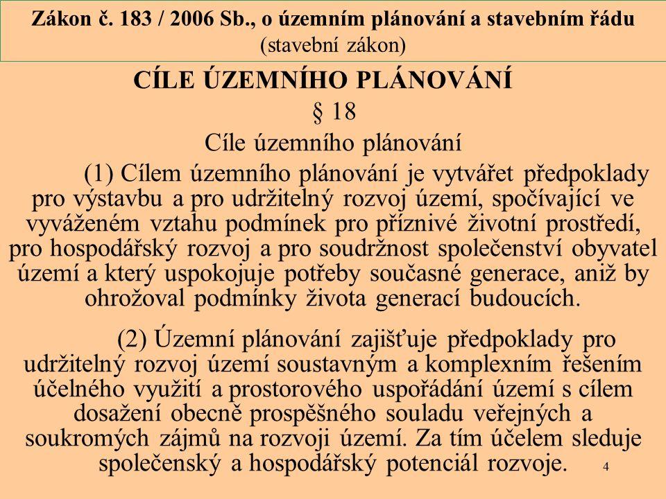 4 Zákon č. 183 / 2006 Sb., o územním plánování a stavebním řádu (stavební zákon) CÍLE ÚZEMNÍHO PLÁNOVÁNÍ § 18 Cíle územního plánování (1) Cílem územní