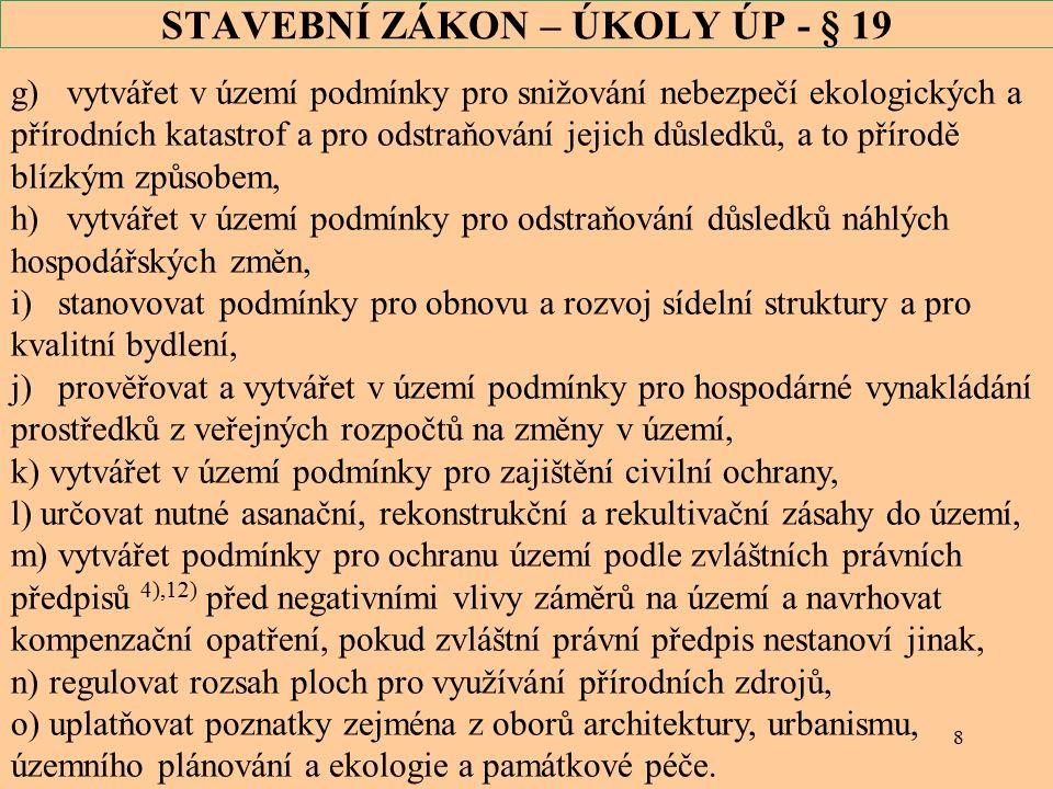 29 STAVEBNÍ ZÁKON – proces posouzení § 47 Zadání ÚP (3) Pokud dotčený orgán ve svém stanovisku k návrhu zadání uplatnil požadavek na posouzení územního plánu z hlediska vlivů na životní prostředí11) nebo pokud dotčený orgán nevyloučil významný vliv na evropsky významnou lokalitu či ptačí oblast12), uvede pořizovatel v návrhu zadání požadavek na vyhodnocení vlivů na udržitelný rozvoj území.