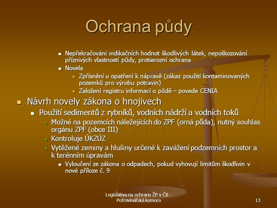 Legislativa na ochranu ŽP v ČR - Potravinářská komora13 Ochrana půdy Nepřekračování indikačních hodnot škodlivých látek, nepoškozování příznivých vlas
