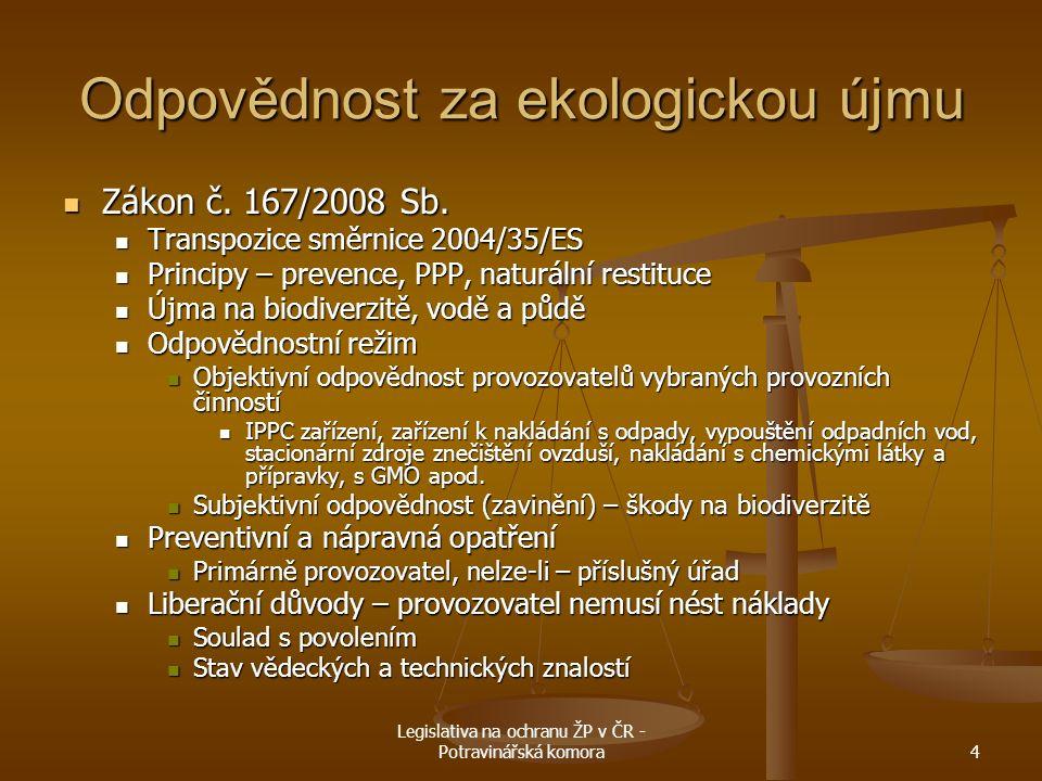 Legislativa na ochranu ŽP v ČR - Potravinářská komora4 Odpovědnost za ekologickou újmu Zákon č. 167/2008 Sb. Zákon č. 167/2008 Sb. Transpozice směrnic