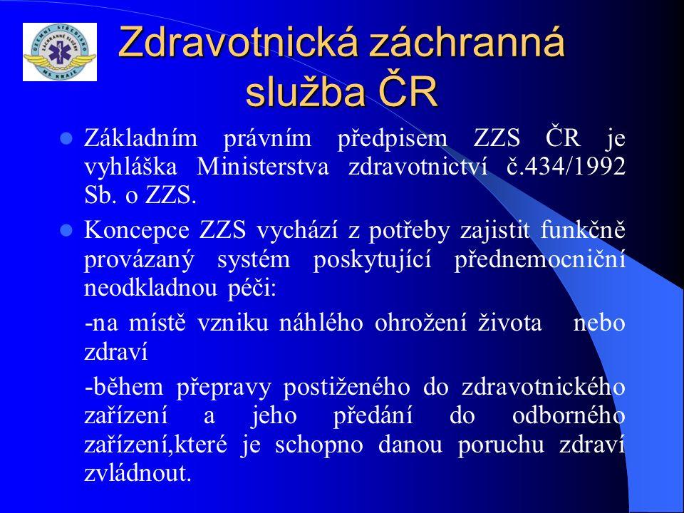 Zdravotnická záchranná služba ČR Základním právním předpisem ZZS ČR je vyhláška Ministerstva zdravotnictví č.434/1992 Sb.