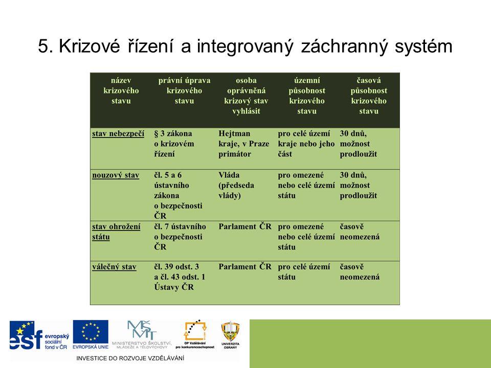 5. Krizové řízení a integrovaný záchranný systém