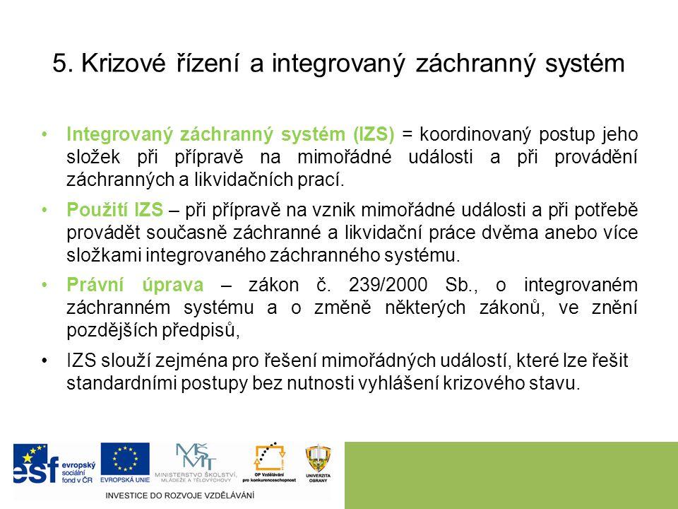 5. Krizové řízení a integrovaný záchranný systém Integrovaný záchranný systém (IZS) = koordinovaný postup jeho složek při přípravě na mimořádné událos