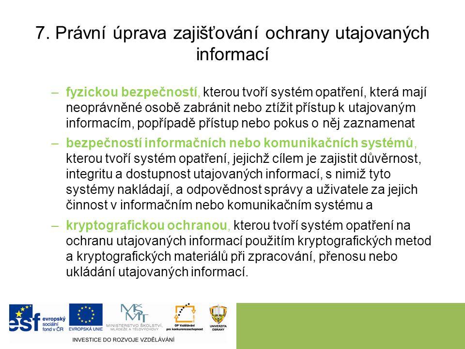 7. Právní úprava zajišťování ochrany utajovaných informací –fyzickou bezpečností, kterou tvoří systém opatření, která mají neoprávněné osobě zabránit