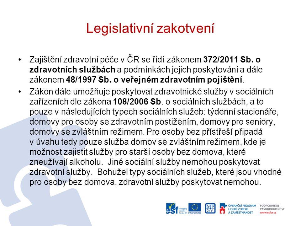 Legislativní zakotvení Zajištění zdravotní péče v ČR se řídí zákonem 372/2011 Sb. o zdravotních službách a podmínkách jejich poskytování a dále zákone