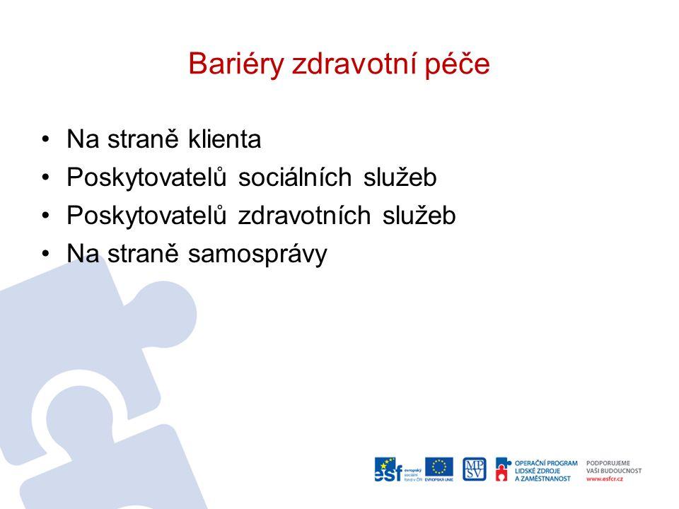 Bariéry zdravotní péče Na straně klienta Poskytovatelů sociálních služeb Poskytovatelů zdravotních služeb Na straně samosprávy