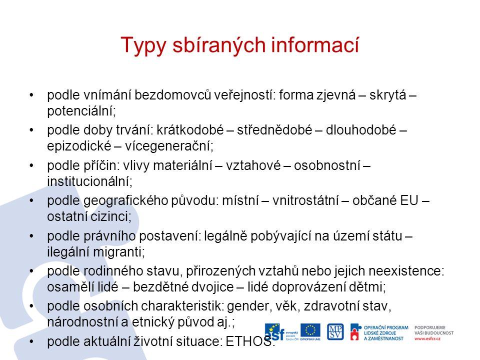 Typy sbíraných informací podle vnímání bezdomovců veřejností: forma zjevná – skrytá – potenciální; podle doby trvání: krátkodobé – střednědobé – dlouhodobé – epizodické – vícegenerační; podle příčin: vlivy materiální – vztahové – osobnostní – institucionální; podle geografického původu: místní – vnitrostátní – občané EU – ostatní cizinci; podle právního postavení: legálně pobývající na území státu – ilegální migranti; podle rodinného stavu, přirozených vztahů nebo jejich neexistence: osamělí lidé – bezdětné dvojice – lidé doprovázení dětmi; podle osobních charakteristik: gender, věk, zdravotní stav, národnostní a etnický původ aj.; podle aktuální životní situace: ETHOS.