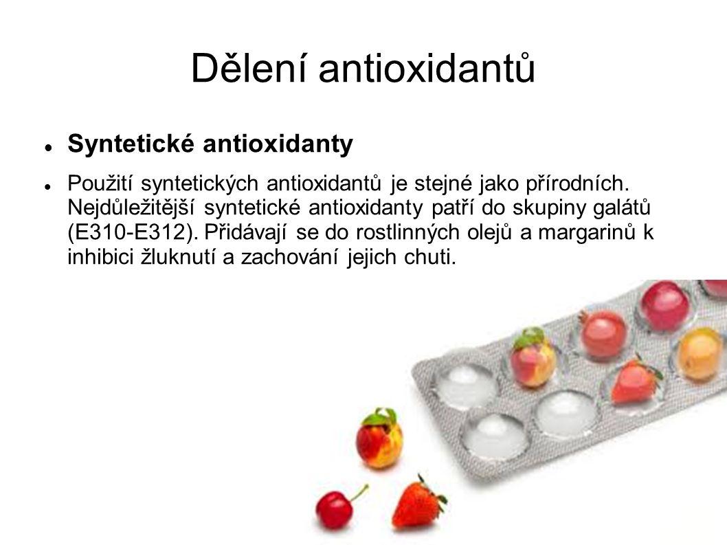 Dělení antioxidantů Syntetické antioxidanty Použití syntetických antioxidantů je stejné jako přírodních.