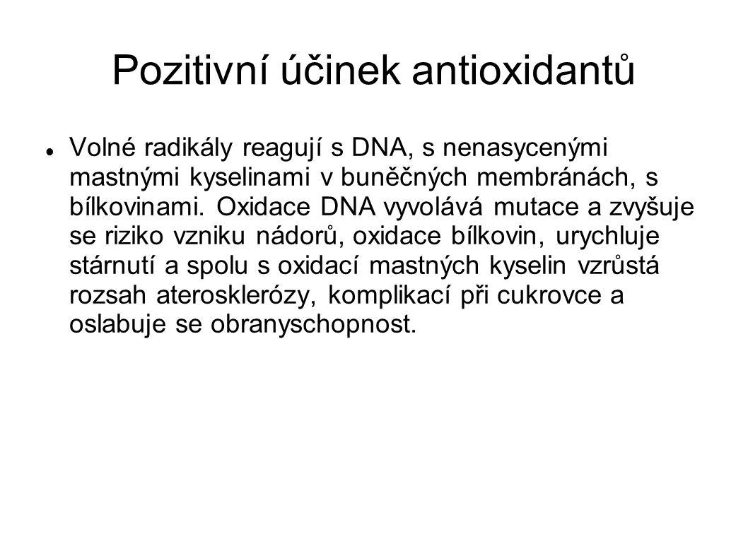 Pozitivní účinek antioxidantů Volné radikály reagují s DNA, s nenasycenými mastnými kyselinami v buněčných membránách, s bílkovinami.