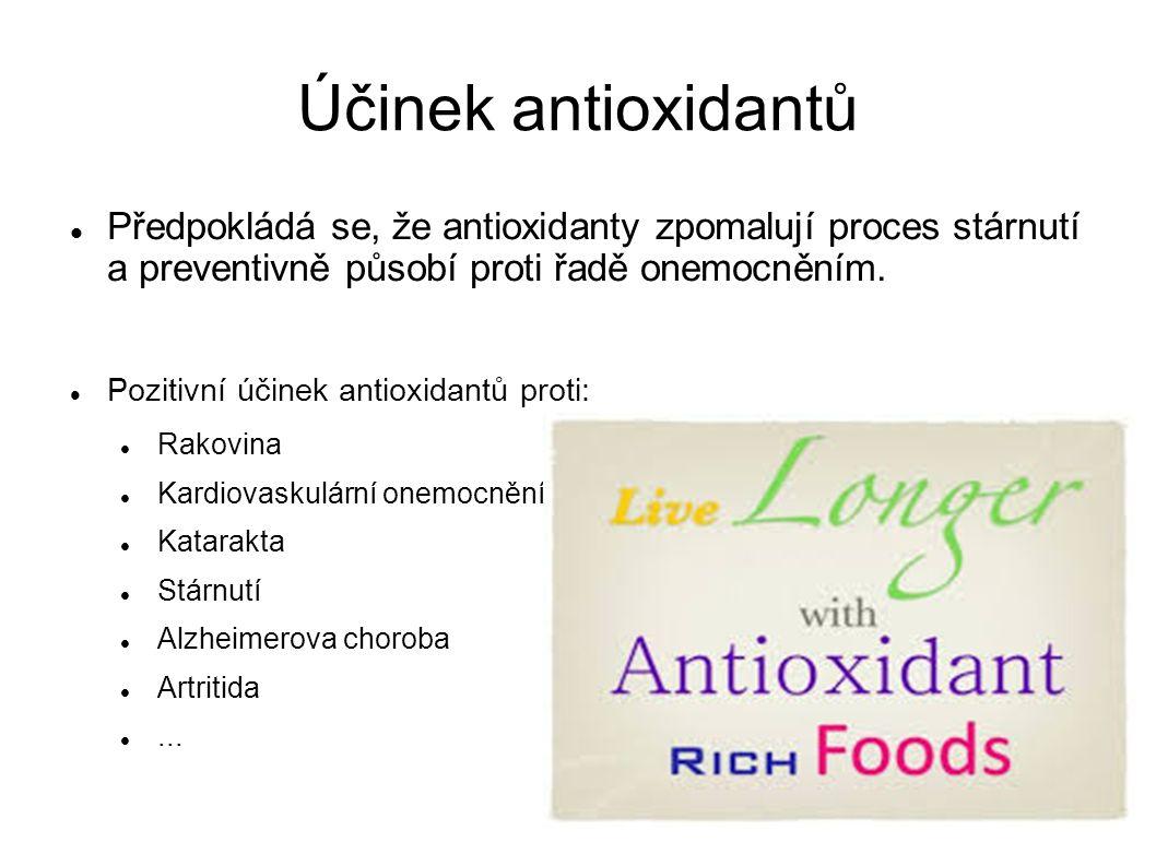 Účinek antioxidantů Předpokládá se, že antioxidanty zpomalují proces stárnutí a preventivně působí proti řadě onemocněním.