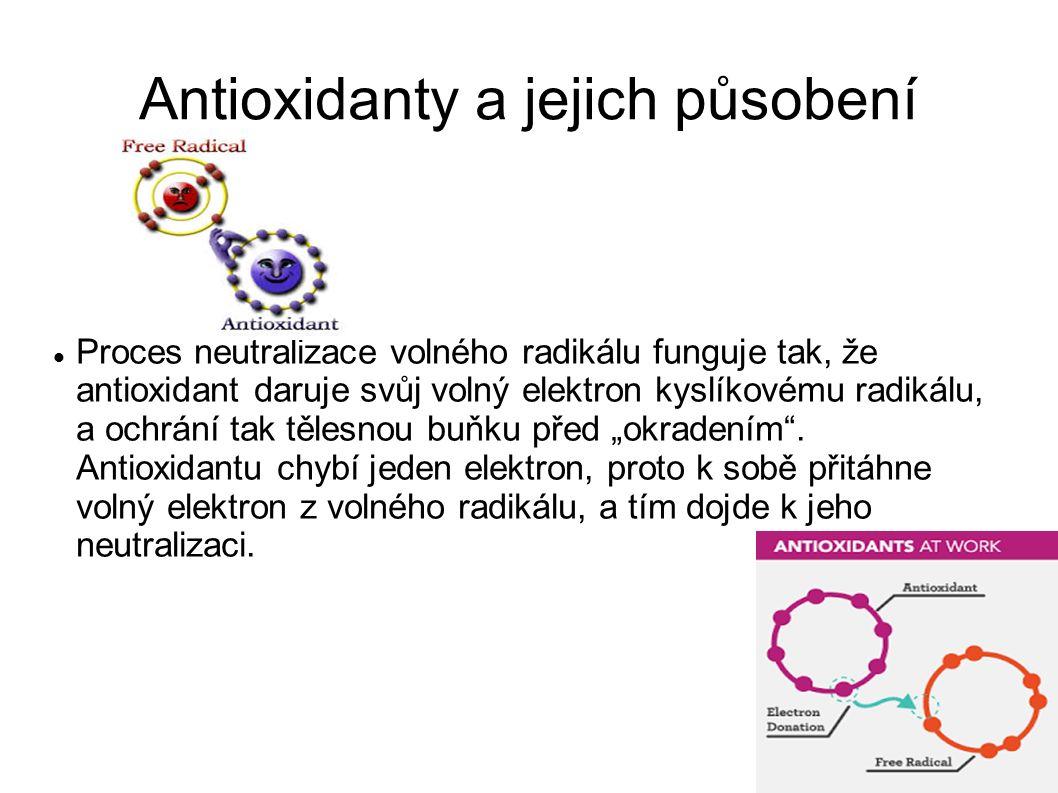 """Antioxidanty a jejich působení Proces neutralizace volného radikálu funguje tak, že antioxidant daruje svůj volný elektron kyslíkovému radikálu, a ochrání tak tělesnou buňku před """"okradením ."""