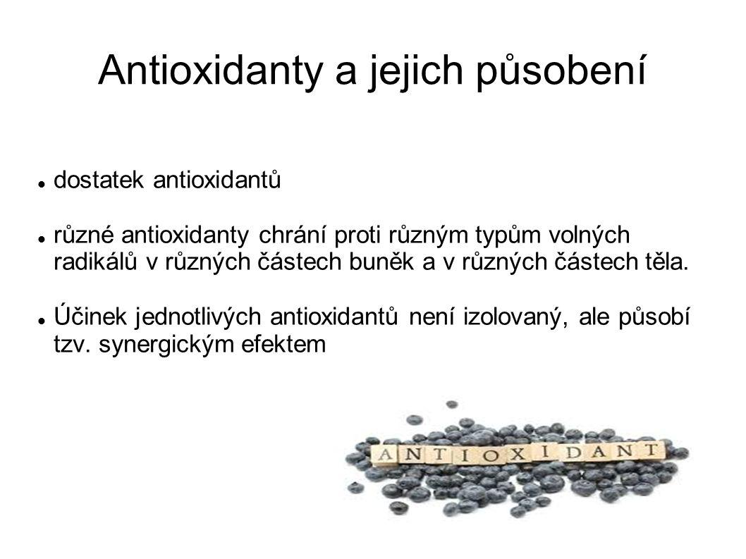 Dělení antioxidantů Z hlediska: Jak se dostávají do lidského organismu Tělo si je vytváří samo (enzymy, koenzymy, sloučeniny obsahující síru), Získává je ze stravy Antioxidanty dělíme i podle jejich působení.