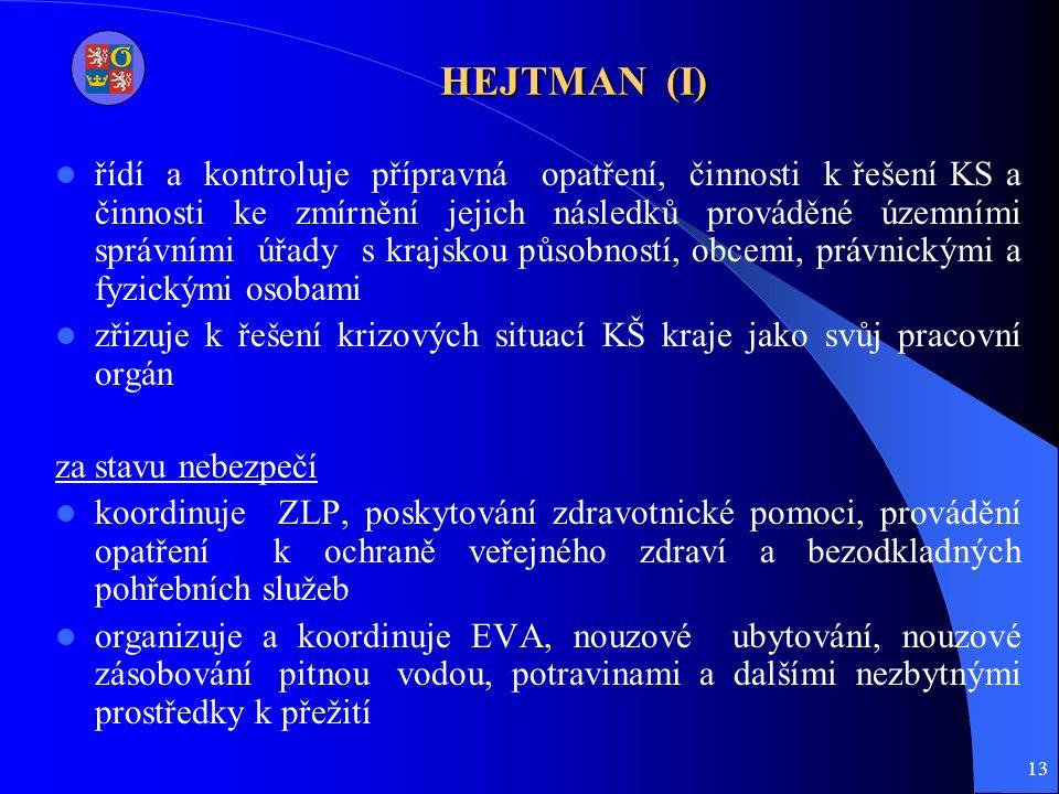 13 HEJTMAN (I) řídí a kontroluje přípravná opatření, činnosti k řešení KS a činnosti ke zmírnění jejich následků prováděné územními správními úřady s krajskou působností, obcemi, právnickými a fyzickými osobami zřizuje k řešení krizových situací KŠ kraje jako svůj pracovní orgán za stavu nebezpečí koordinuje ZLP, poskytování zdravotnické pomoci, provádění opatření k ochraně veřejného zdraví a bezodkladných pohřebních služeb organizuje a koordinuje EVA, nouzové ubytování, nouzové zásobování pitnou vodou, potravinami a dalšími nezbytnými prostředky k přežití