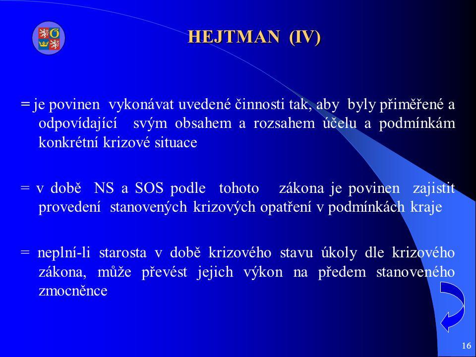 16 HEJTMAN (IV) = je povinen vykonávat uvedené činnosti tak, aby byly přiměřené a odpovídající svým obsahem a rozsahem účelu a podmínkám konkrétní krizové situace = v době NS a SOS podle tohoto zákona je povinen zajistit provedení stanovených krizových opatření v podmínkách kraje = neplní-li starosta v době krizového stavu úkoly dle krizového zákona, může převést jejich výkon na předem stanoveného zmocněnce