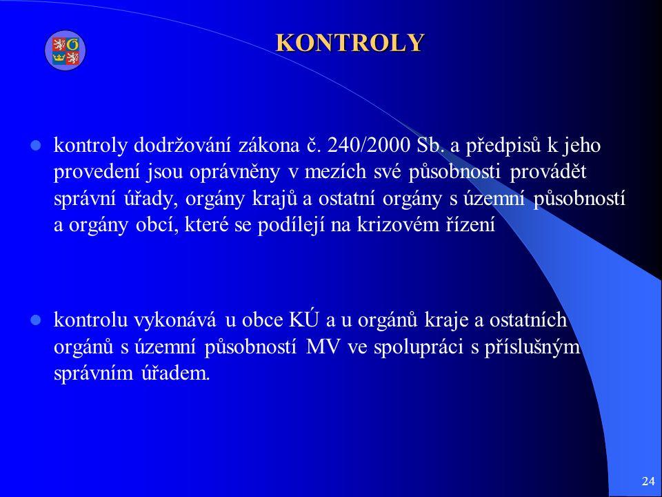 24 KONTROLY kontroly dodržování zákona č. 240/2000 Sb.