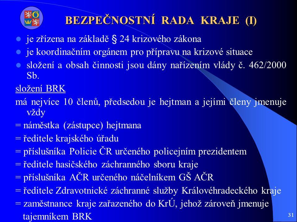 31 BEZPEČNOSTNÍ RADA KRAJE (I) je zřízena na základě § 24 krizového zákona je koordinačním orgánem pro přípravu na krizové situace složení a obsah činnosti jsou dány nařízením vlády č.
