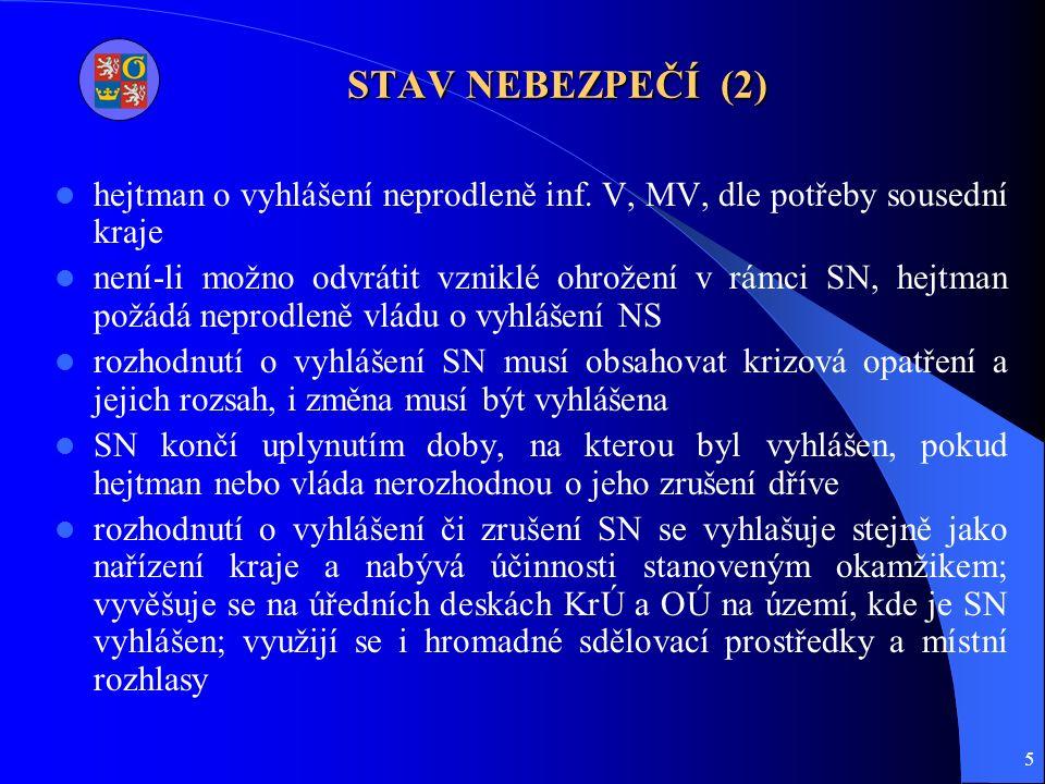 5 STAV NEBEZPEČÍ (2) hejtman o vyhlášení neprodleně inf.