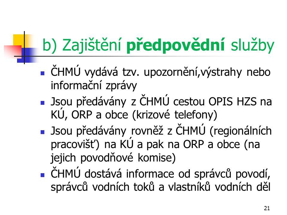b) Zajištění předpovědní služby ČHMÚ vydává tzv. upozornění,výstrahy nebo informační zprávy Jsou předávány z ČHMÚ cestou OPIS HZS na KÚ, ORP a obce (k