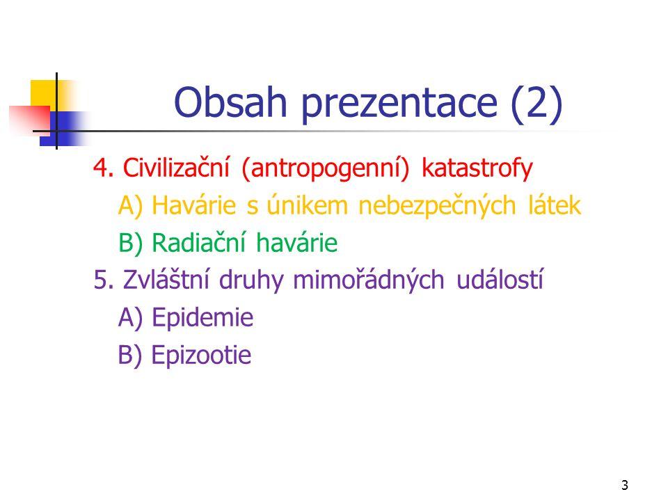 Obsah prezentace (2) 4. Civilizační (antropogenní) katastrofy A) Havárie s únikem nebezpečných látek B) Radiační havárie 5. Zvláštní druhy mimořádných