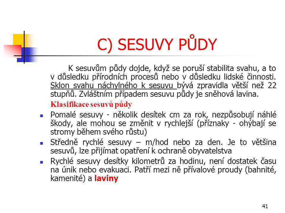 C) SESUVY PŮDY K sesuvům půdy dojde, když se poruší stabilita svahu, a to v důsledku přírodních procesů nebo v důsledku lidské činnosti. Sklon svahu n